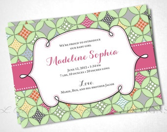 Quatrefoil Cathedral Window Birth Announcement - Green Pink - DIY Printable
