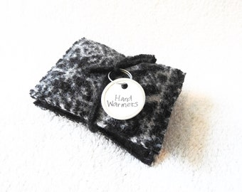 Hand Warmers Mismatched BLACK & WHITE or Gray Nordic Fair Isle Sweater Wool Rice Bags Reusable Handwarmers Ecofriendly by WormeWoole