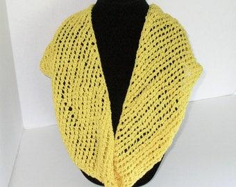 Yellow Cotton Scarf / Knit Yellow Circle Scarf /  Yellow Hand Knit Infinity Scarf / Yellow Cowl Knit