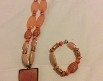 Peach Bead Necklace and Bracelet Set