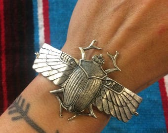 Scarab Cuff Bracelet // handmade in the USA // antiqued oxidized silver winged Egyptian beetle // adjustable size // gift idea