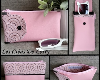 2 in 1 leather glasses case pink clear circles pattern