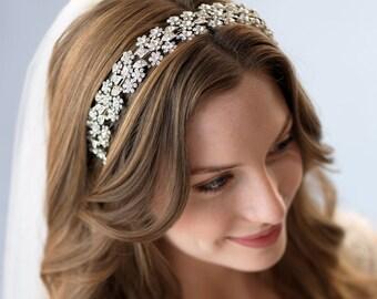 Wedding Headband, Bridal Headpiece, Floral Headband, Crystal Headband, Silver Bridal Accessory,Wedding Accessory, Wedding Headpiece ~TI-3171