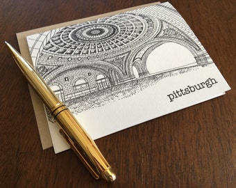Pittsburgh Union Station Letterpress Note Card, Pittsburgh Note Card, Landmarks Note Card, Pittsburgh Gift, Small Gift, Thank You Card