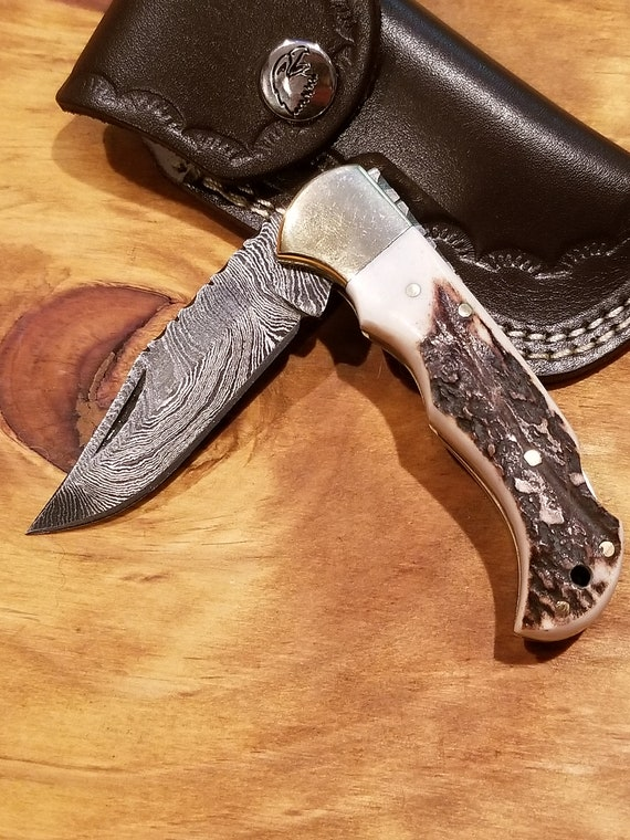 Handmade Deer Antler Folding Pocket Knife Damascus Blade Stag Collection With Leather Sheath Outdoors Premium (K75)