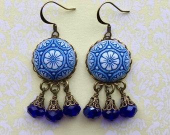 Mosaic Earrings - Chandelier Earrings - Mosaic Jewelry - Patterned Earrings - Beach Jewelry - Tile Earrings - Blue Earrings - Summer Earring