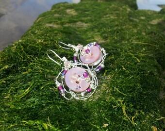 Vintage Rose Beaded Wire Earrings