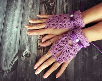 Lila crochet wedding bridal gloves with satin ribbon crochet mittens bracelet fingerless lace gloves bridal accessories bridesmaids gift