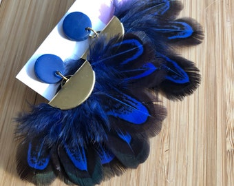 Blue Feather fan earrings