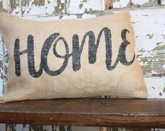 Burlap or Canvas Home Pillow Cover 12x16. Throw Pillow