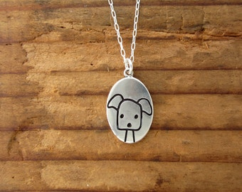 Dog Necklace - Reversible Best Dog Ever Pendant - Sterling Silver Puppy Charm