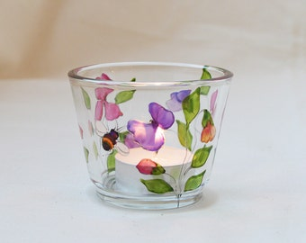 Sweet pea and bee design candle cup, hand painted glass, tea-light holder, glassware