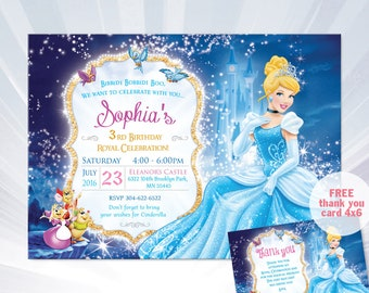 princess cinderella birthday invitation - princess cinderella invitation - cinderella invitation template - cinderella party ideas
