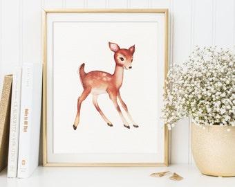 Nursery Prints, Deer Baby Print, Deer Artwork, Fawn Wall Art, Deer Wall Art, Deer Nursery Decor, Baby Girl Print, Woodland Nursery Print