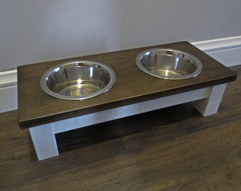Elevated Pet Feeder - Farmhouse Table - Raised Dog Bowl Stand - Dog Food Stand