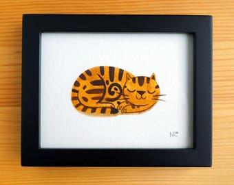 Cinnamon Cat - Mini Original Watercolor Painting