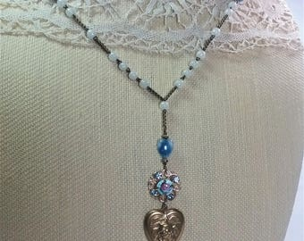 Assemblage Necklace/Blue Guilloche/Heart Necklace