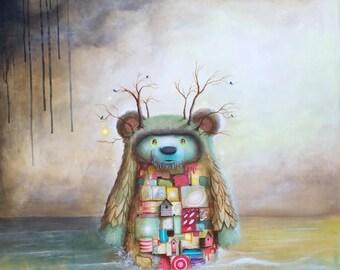 Bear Print - Art  - Art Print - Surreal - Whimsical - Birds - Wall Deco - Ocean - Sea - Bear - Whimsy - Wall Art - Painting -