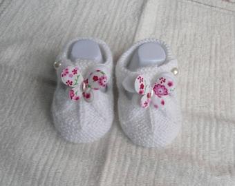 Baby wool sandalette White Butterfly shape