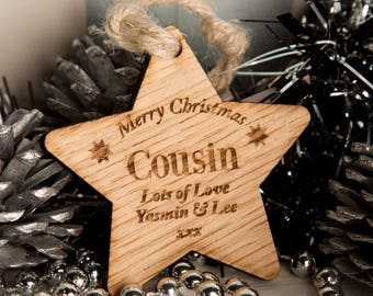 Personalised Cousin Wooden Star - Wooden Christmas Star, Christmas Star Decorations, Gifts for Cousin, Personalised Cousin Gift, Xmas Star.