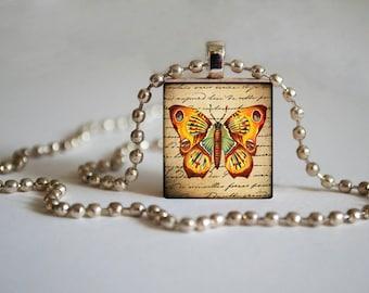 Yellow Butterfly - Scrabble Tile Pendant