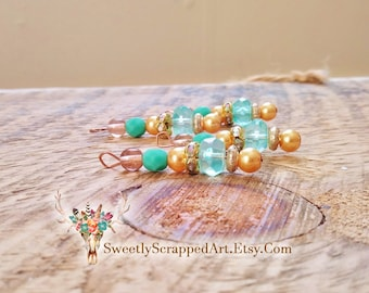 Turquoise and Gold Beaded Charms. Aqua Blue. Scrapbook Embellishments. Jewelry Supplies. DIY Jewelry. Beaded Charms. Beaded Tassel. Gypsy