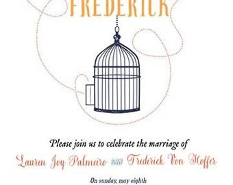 Personalized Invitation - Bird Cage Wedding Invitation