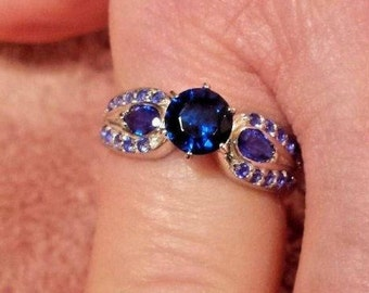 Blue Sapphire & Natural Blue Sapphire Gemstone Sterling Silver Ring, 2 ct.  Size - 8