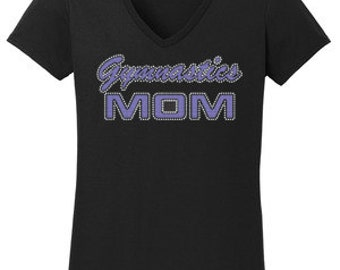 Gymnastics Mom Rhinestone T-Shirt Made to order