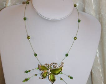 Lime Green Butterfly Necklace