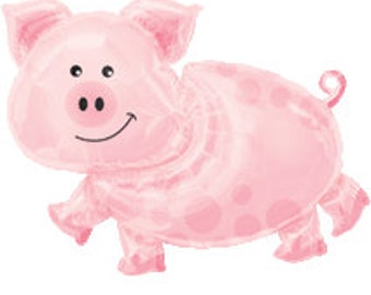 Large Pig Balloon, 35 inch 1CT, farm birthday decorations, foil balloon, pink, piglet, baby shower, barnyard, barn, pigs