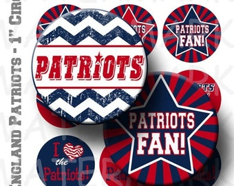 50% Off Sale - Patriots Football Team Bottlecap Circles - 4 x 6 Digital Collage Sheet  - 1 inch Round Circles - INSTANT DOWNLOAD