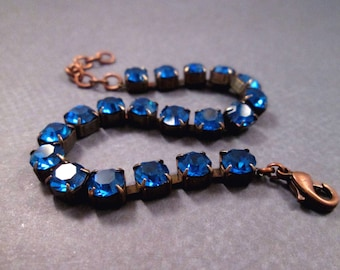 Rhinestone Bracelet, Royal Blue Glass Rhinestone and Copper Beaded Bracelet, FREE Shipping U.S.