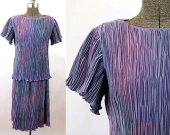 1980s purple dress Fortuny pleats crinkle pleats flutter sleeves tunic top mottled color lavender Karen Laurence Size S/M