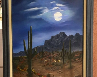 Desert moon, night scene southwest landscape original oil painting 24x36