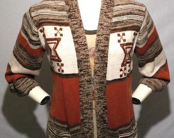 70's Bohemian hippie orange brown and white acrylic knit cardigan sweater w/ pockets - women's M/L