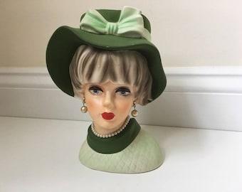 """Vintage 7.5"""" Lady Head Vase #7495"""