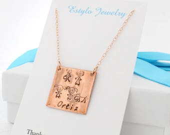 Personalized Gift for Mom Necklace Square, Stick Family Necklace, Custom Square Plate Necklace, Silver Tag Gold or Rose Gold Fill, Last Name