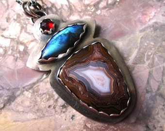 Agua Nueva Agate, Blue Labradorite and Red Garnet Pendant in Sterling Silver Necklace Jewelry