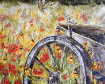 painting, oil, canvas, surrealism, symbolism, girl, flowers, oil painting, realism, shop of paintings, insects, interior design