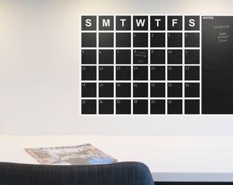Chalkboard Calendar Decal, Modern