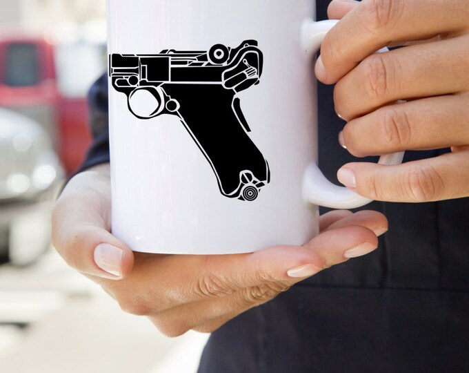 KillerBeeMoto:    German Luger 9MM Pistol On A Coffee Mug
