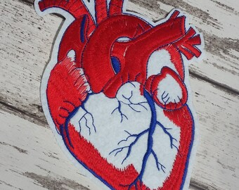 Large Red Anatomical Heart Embroidered Patch Applique Very Gothic Emo Punk