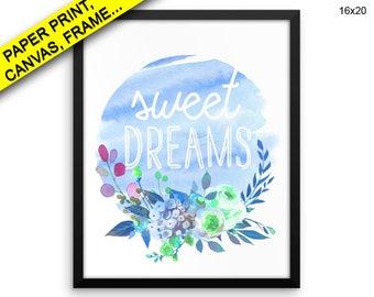 Sweet Dreams Printed Poster Sweet Dreams Framed Sweet Dreams Nursery Art Sweet Dreams Nursery Print Sweet Dreams Canvas Sweet Dreams Wall