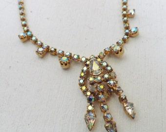 Vintage lavalier rhinestone necklace aurora borealis rhinestones gold tone metal bride wedding jewelry stocking stuffer gift for her