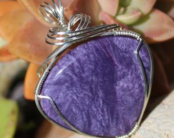 Charoite Stone Pendant, Puruple Charoite Pendant, Argentium Sterling Silver Wire Wrapped, Purple Stone Pendant, Handmade Jewelry Necklace