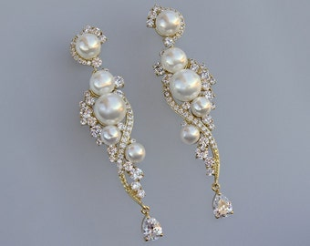 Gold Bridal Earrings, Crystal & Pearl Gold Bridal Earrings, Gold earrings, Bridal Chandelier Earrings, TILLY Gold