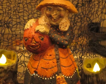Paper mache Halloween Witch w/Broom