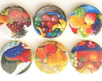 Magnets, Bowls of Fruits, Country Home Decor, Fridge Magnets, Farmhouse Decor, Kitchen Magnets, Fruit Magnets, Refrigerator Magnets, 6/Set