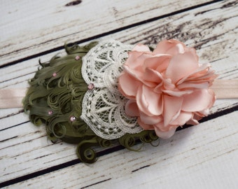 Handcrafted Blush and Olive Green Vintage Style Feather Headband - Flower Girl Headpiece - Ivory Lace Bows - Flapper Girl Headpiece - 1920s